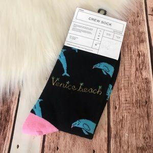 Urban Outfitters Socks Venice Beach Dolphin Print
